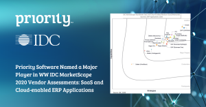 Priority Software named a major player in WW IDC MarketScape 2020 Vendor Assessments: SaaS and cloud-enabled ERP applications